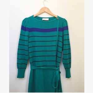 Vintage Striped Turquoise Midi Sweater Dress